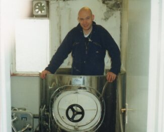 Chris Tomlinson in Copper Barrel after brewing his first beer in Tirril